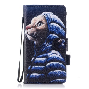 Pattern Printing Leather Wallet Stand Mobile Casing Cover with Strap for Samsung Galaxy J5 Pro (2017) / J5 (2017) EU Version - Cat Wearing Overcoat