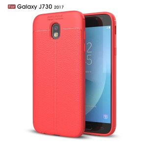 Litchi Texture PU Leather Coated TPU Soft Case for Samsung Galaxy J7 (2017) EU Version / J7 Pro (2017) - Red