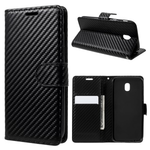 Carbon Fiber Wallet Leather Stand Phone Case for Samsung Galaxy J5 Pro (2017) / J5 (2017) EU Version - Black