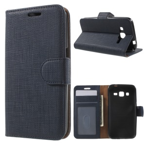 Seamless Plaid Leather Wallet Case for Samsung Galaxy Core Prime G360 - Dark Blue