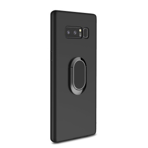 Magnetic Ring Holder Car Bracket TPU+PC Hard Protective Shell for Samsung Galaxy Note 8 N950 - Black
