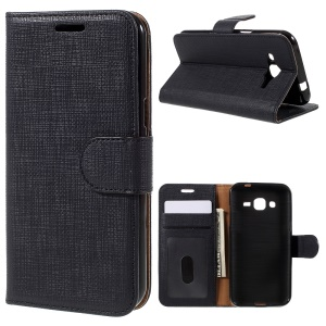 Seamless Plaid Wallet Leather Stand Case for Samsung Galaxy J2 SM-J200 - Black
