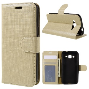 Seamless Plaid Wallet Leather Shell for Samsung Galaxy J2 SM-J200 - Champagne