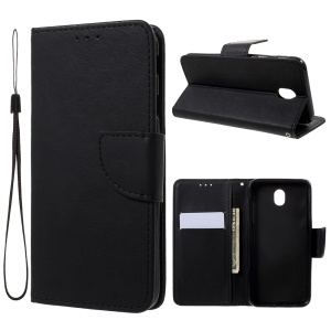 Cross Texture Leather Wallet Case for Samsung Galaxy J7 Pro (2017) / J7 (2017) EU Version - Black