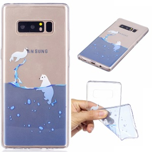 Pattern Printing IMD TPU Cell Phone Case for Samsung Galaxy Note 8 SM-N950 - Animals Playing in Water