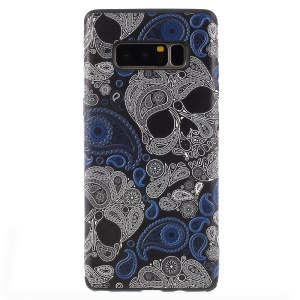 Embossed Pattern Soft TPU Mobile Case for Samsung Galaxy Note 8 SM-N950 - Skulls and Paisley Pattern