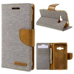 MERCURY GOOSPERY Canvas Leather Case for Samsung Galaxy J1 Ace SM-J110 - Grey
