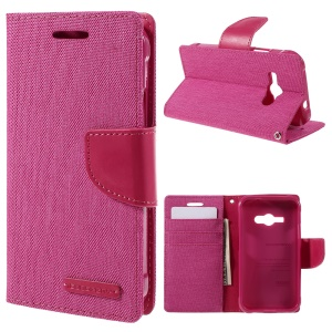 MERCURY GOOSPERY Canvas Leather Stand Cover for Samsung Galaxy J1 Ace SM-J110 - Rose