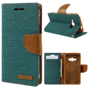 MERCURY GOOSPERY Canvas Leather Phone Cover for Samsung Galaxy J1 Ace SM-J110 - Green