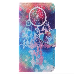 Pattern Printing Cross Texture Magnetic Stand Leather Wallet Shell for Samsung Galaxy J3 Pro (2017) / J3 (2017) EU Version - Dream Catcher