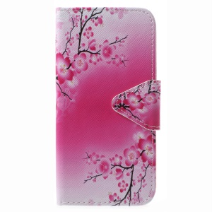 For Samsung Galaxy J5 (2017) EU Version / J5 Pro (2017) Pattern Printing Folio Leather Wallet Cover Case - Peach Blossom