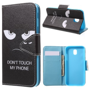 Pattern Printing Cross Texture Magnetic Stand Leather Wallet Cover for Samsung Galaxy J7 Pro (2017) / J7 (2017) EU Version - Angry Face