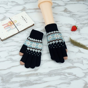 One Pair Knitted Winter Touch Screen Luvas Full Finger Hand Luvas - Floco de neve / negro