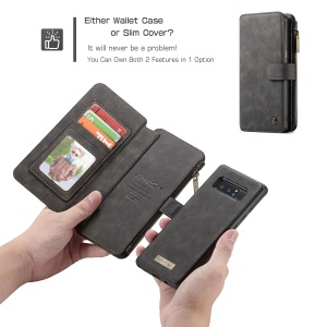CASEME 2-in-1 Detachable Wallet Split Leather Case for Samsung Galaxy Note 8 SM-N950 - Black