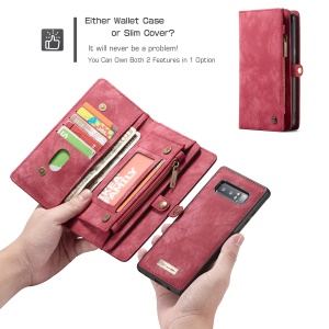 CASEME Multi-slot Detachable 2-in-1 Wallet Split Leather Case for Samsung Galaxy Note 8 SM-N950 - Red