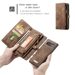 CASEME 2-in-1 Vintage Split Leather Shell with Multi-slot Wallet for Samsung Galaxy Note 8 SM-N950 - Brown