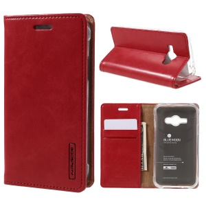 MERCURY GOOSPERY Blue Moon Leather Cover for Samsung Galaxy J1 Ace SM-J110 - Red