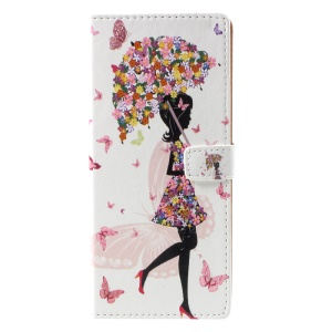 Pattern Printing PU Leather Wallet Stand Cell Phone Shell for Samsung Galaxy Note 8 SM-N950 - Flower Girl