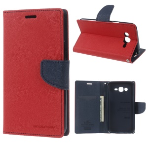 MERCURY GOOSPERY Leather Wallet Shell for Samsung Galaxy J7 SM-J700F - Red