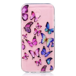 For Samsung Galaxy J5 Pro (2017) / J5 (2017) EU Version Embossment Pattern Soft TPU Back Phone Cover - Butterflies