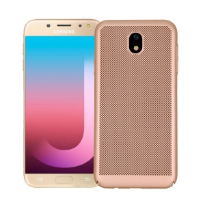 Rubberized Hollow Mesh Heat Dissipation PC Back Case for Samsung Galaxy J7 (2017)/J7 Pro (2017) - Gold