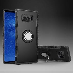 Armor PC TPU Hybrid Magnetic Ring Kickstand Case for Samsung Galaxy Note 8 N950 - Black