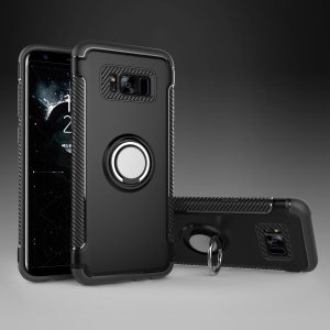 Armor PC TPU Hybrid Magnetic Ring Kickstand Phone Case for Samsung Galaxy S8 Plus G955 - Black