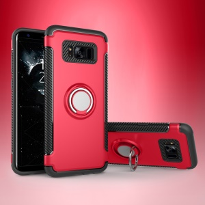 Armor PC TPU Hybrid Magnetic Ring Kickstand Mobile Casing for Samsung Galaxy S8 Plus G955 - Red