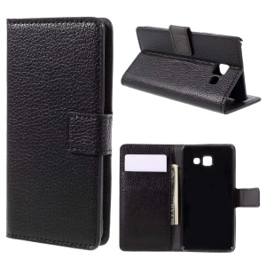 Litchi Grain Leather Wallet Cover for Samsung Galaxy A3 SM-A310F (2016) - Black