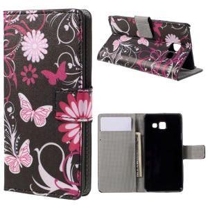 Wallet Leather Stand Cover for Samsung Galaxy A3 SM-A310F (2016) - Butterfly Flowers