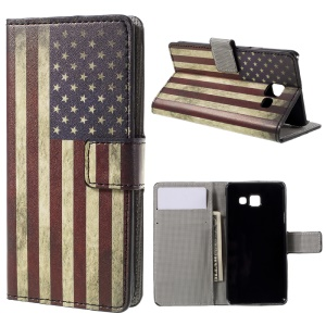 Phone Leather Stand Case for Samsung Galaxy A3 SM-A310F (2016) - Retro American Flag