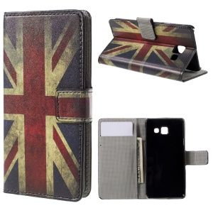 Wallet Leather Stand Case Cover for Samsung Galaxy A3 SM-A310F (2016) - Vintage UK Flag