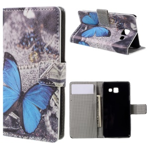 PU Leather Stand Case for Samsung Galaxy A3 SM-A310F (2016) - Blue Butterfly