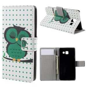 Wallet Leather Phone Case for Samsung Galaxy A3 SM-A310F (2016) - Sleeping Owl on the Branch