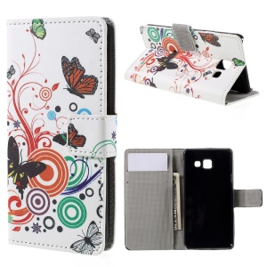 Wallet Leather Stand Cover Case for Samsung Galaxy A3 SM-A310F (2016) - Butterfly Circles