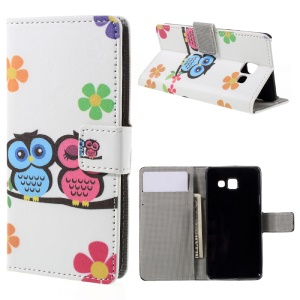 Leather Stand Case with Card Slots for Samsung Galaxy A3 SM-A310F (2016) - Adorable Owls and Flowers