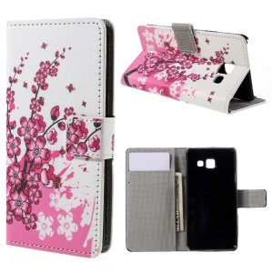 Protective Leather Stand Case for Samsung Galaxy A3 SM-A310F (2016) - Plum Blossom