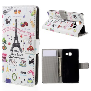Magnetic Leather Stand Cover for Samsung Galaxy A3 SM-A310F (2016) - Eiffel Tower and Flowers