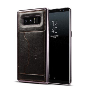 Crazy Horse Skin Leather Coated Plated TPU Case with Card Slot and Stand for Samsung Galaxy Note 8 SM-N950 - Black