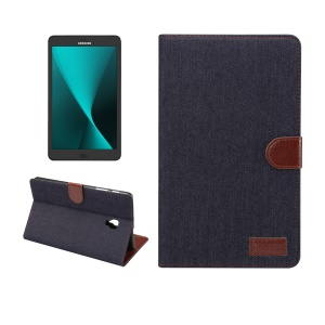 Jeans Cloth Leather Wallet Smart Cover for Samsung Galaxy Tab A 8.0 (2017) T380 T385 - Black Blue
