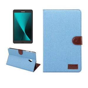 Jeans Cloth Leather Smart Stand Case for Samsung Galaxy Tab A 8.0 (2017) T380 T385 - Baby Blue
