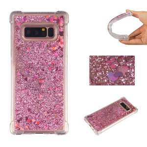 Floating Powder Heart Shaped Sequins Liquid TPU Soft Case for Samsung Galaxy Note 8 SM-N950 - Red