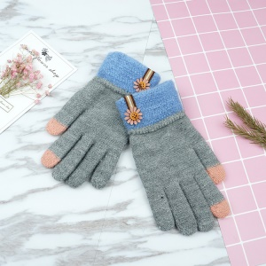 Touchscreen Warm Winter Gloves Women's Full-finger Knitted Gloves - Grey