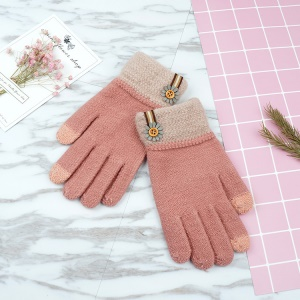 Contrast Color Warm Winter Touchscreen Texting Gloves Women's Full-finger Knitted Gloves - Deep Pink