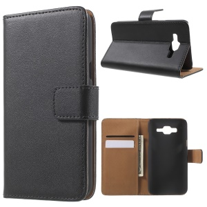Split Genuine Leather Cover Wallet Stand for Samsung Galaxy J5 SM-J500F
