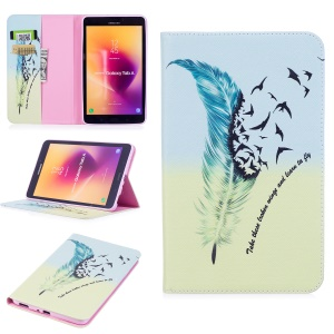 Pattern Printing Wallet Stand Leather Case for Samsung Galaxy Tab A 8.0 (2017) T385/T380 - Feather Pattern