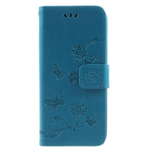 Imprint Butterfly and Flower Leather Card Holder Cell Phone Cover for Samsung Galaxy A8 (2018) - Blue