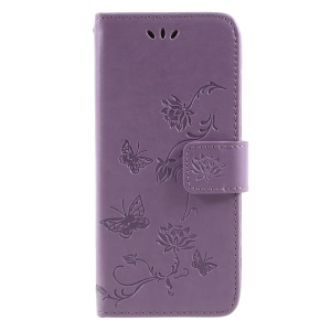 Imprint Butterfly and Flower Leather Magnetic Wallet Mobile Cover for Samsung Galaxy A8 (2018) - Purple