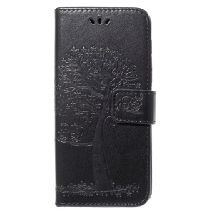 Imprint Tree and Owls PU Leather Stand Cover for Samsung Galaxy A8 (2018) - Black
