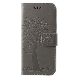 Imprint Tree and Owls PU Leather Wallet Flip Case for Samsung Galaxy A8 (2018) - Grey